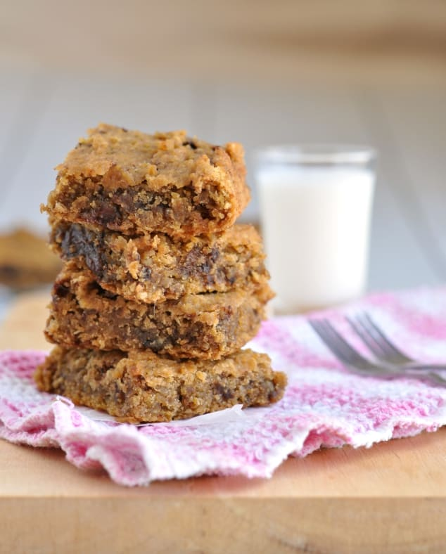 Healthy Chocolate Chip Cookie Dough Bars stacked in a tower