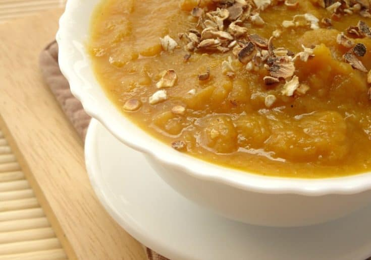 Autumn Vegetable Soup with Toasted Oats