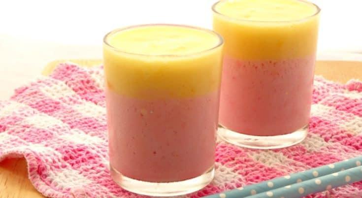 Healthy Vegan Layered Strawberry Mango Smoothie