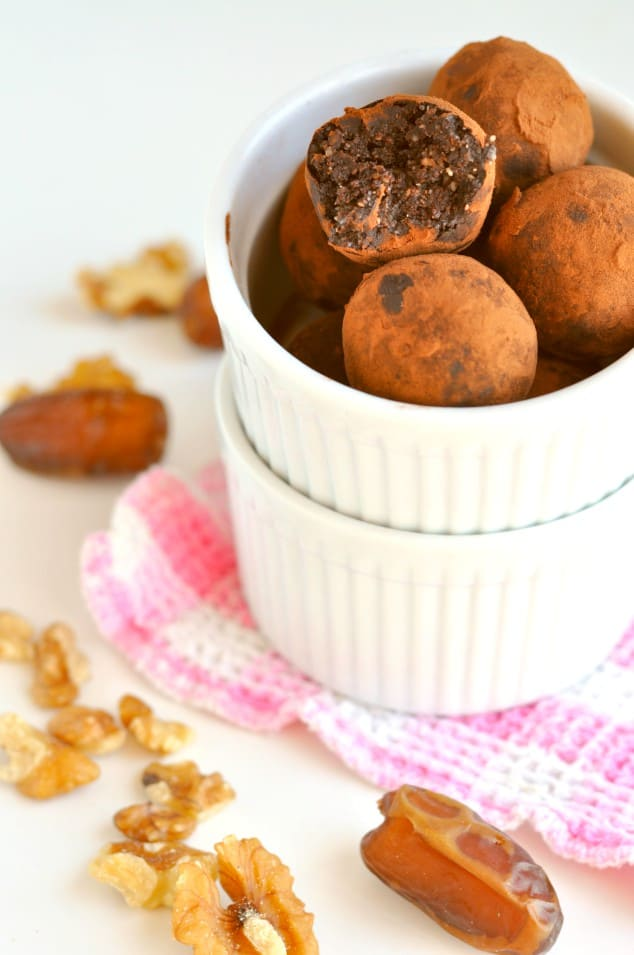 Yummy Chocolate brownie no bake energy balls in a white ramekin
