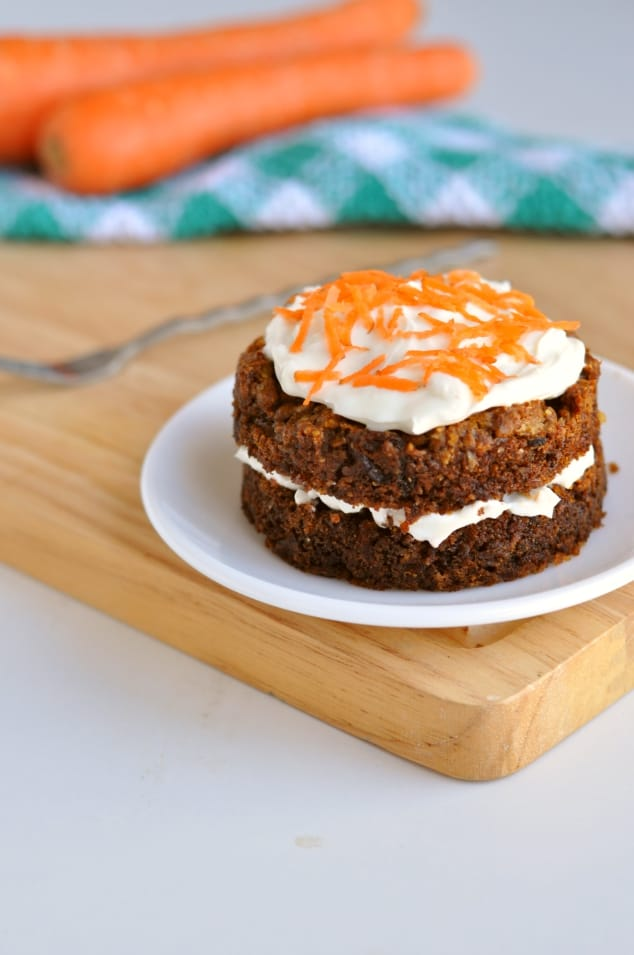 A double layer Healthy carrot cake mug cake