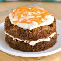 Closeup of a Healthy carrot cake mug cake