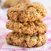 A stack of 3 of the best ever healthy chocolate chip oatmeal cookies