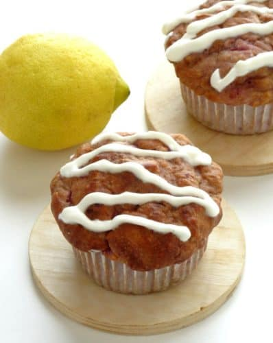 Healthy Lemon Raspberry Muffins with a Cream Cheese Glaze Recipe. Oh my word - I cannot believe how light and fluffy these muffins are! The Greek yogurt keeps them moist and low in fat, while the Stevia means they're entirely sugar-free! Definitely my favorite muffin recipe.