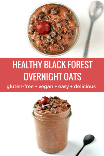Black Forest Overnight Oats Recipe | This healthy breakfast recipe takes just 5 minutes to make and tastes amazing! Loaded with dark chocolate and cherries, this definitely tastes more like an indulgent dessert than a healthy breakfast.