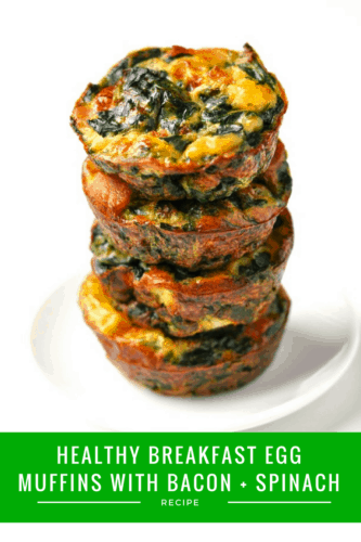 Healthy Breakfast Egg Muffins with Bacon + Spinach Recipe | Get ready because these light and fluffy muffins of deliciousness will soon become your favorite healthy breakfast! They're quick and easy to make - perfect for busy weekday mornings.