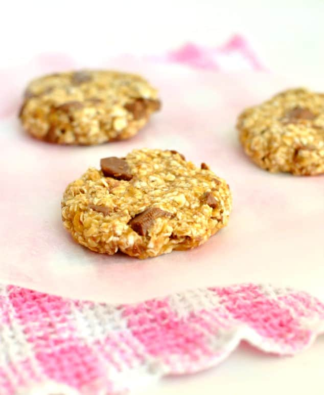 Parchment paper with unbaked 3 ingredient banana cookies
