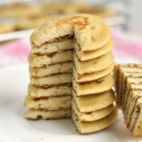 Closeup of a stack of Healthy 3 Ingredient Banana Pancakes
