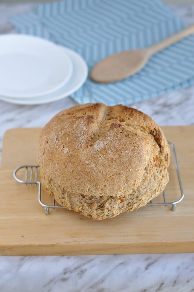 A baked loaf of easy Irish soda bread.