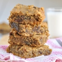 A tower of Healthy Chocolate Chip Cookie Dough Bars Recipe