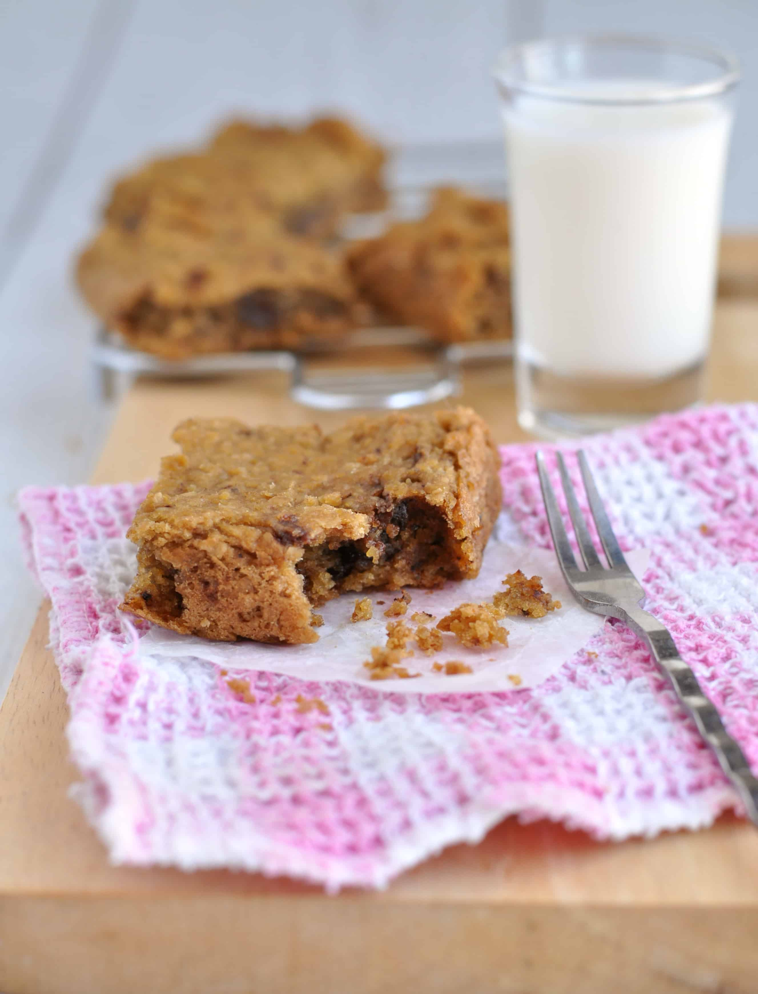 A Healthy Chocolate Chip Cookie Dough Bar with a bite taken out of it