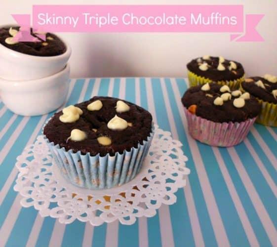 Skinny Triple Chocolate Muffins