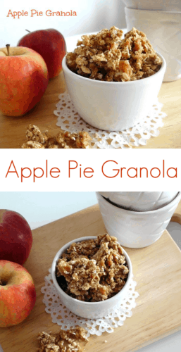 Apple Pie Granola #Recipe - a #healthy and wholesome #breakfast made entirely from scratch without any nasty additives. Perfect for busy school mornings and bursting with fall flavours! | www.happyhealthymotivated.com