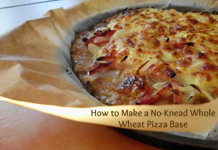 How to Make a No-Kead Whole Wheat Pizza Base | www.pinkrecipebox,com