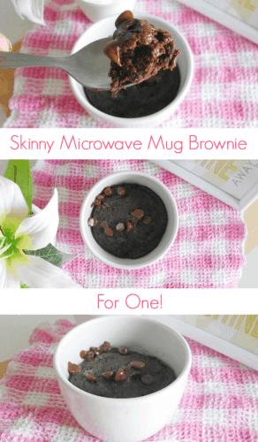 #Skinny Microwave Mug Brownie for One #Recipe - a quick and easy single-serving chocolate brownie that's made in the microwave in just a couple of minutes. It's practically fat-free, too. Only 160 calories for the whole thing!   www.happyhealthymotivated.com