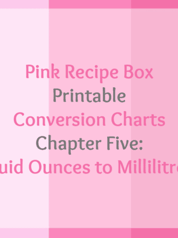 Pink Recipe Box Printable Conversion Chart Series - Chapter Five: Fluid Ounces to Millilitres