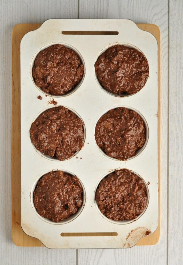 Batter to make 6 healthy double chocolate bran muffins