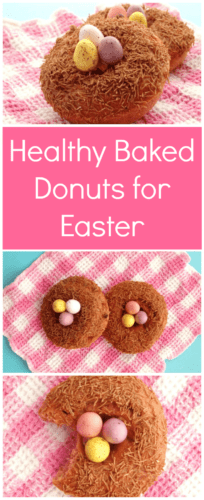 Healthy Baked Donuts for Easter. Cute Easter idea for strawberry donuts topped with All Bran and chocolate eggs to look like a bird nest.
