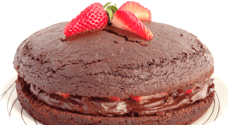 The Best Ever Healthy Fat-Free Vegan Chocolate Cake with Strawberries - this really is the ultimate dense and fudgy chocolate cake made with no milk, butter or eggs! | www.happyhealthymotivated.com