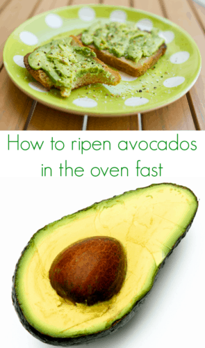 How to Ripen Avocados in the Oven Fast - super-simple tutorial that shows you how to fully ripen avocados in the oven in less than one hour! Perfect for mashed avocado on toast for breakfast or guacamole for lunch or dinner!