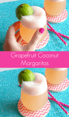 Grapefruit Coconut Margaritas recipe - a perfectly balanced margarita cocktail with tart grapefruit, sweet coconut and punchy tequila. Bring on Cinco de Mayo! | www.happyhealthymotivated.com