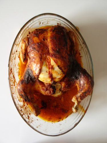Healthier Adeje Chicken #Recipe - a delicious roast chicken smothered in a spicy red-pepper based mojo sauce typical of the Canary Islands. This recipe is a great way to jazz up an ordinary roast chicken! | www.happyhealthymotivated.com