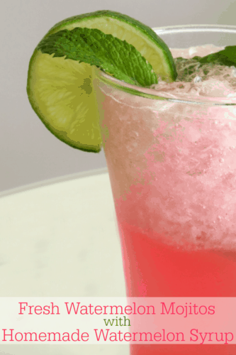 Fresh Watermelon Mojito with Homemade Watermelon Syrup Recipe. What cocktail says summer more than this fresh watermelon mojito?! Plus - you can't not love the gorgeous pink colour! Perfect for pool parties, bbqs or just for sipping on a balmy summer evening!