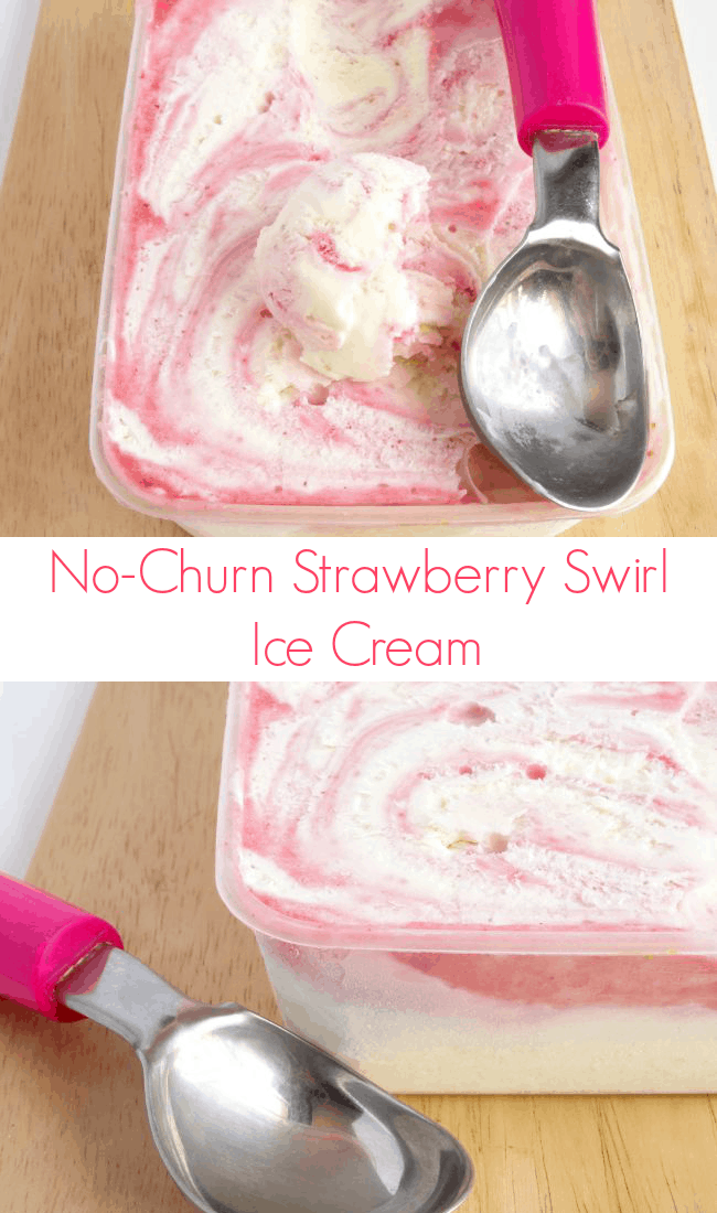 No Churn #Strawberry Ice Cream #Recipe - this easy ice cream recipe has a smooth and creamy texture bust doesn't need ANY churning! There's no ice cream machine required, either! Definitely a keeper | www.happyhealthymotivated.com