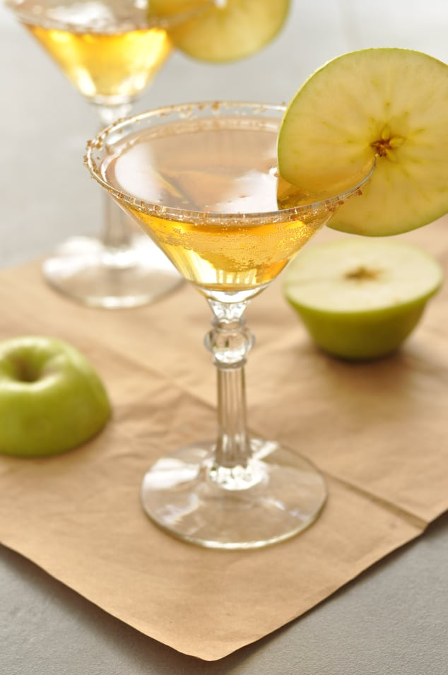 Caramel apple martini in a typical martini glass