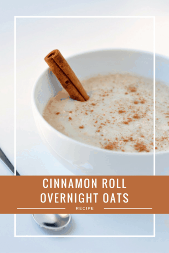 Healthy Cinnamon Roll Overnight Oats Recipe   This quick and easy breakfast recipe is gluten-free, delicious and takes just 5 minutes to prepare the night before! Perfect for a healthy and delicious breakfast on the go and so much better for you than a real cinnamon roll.