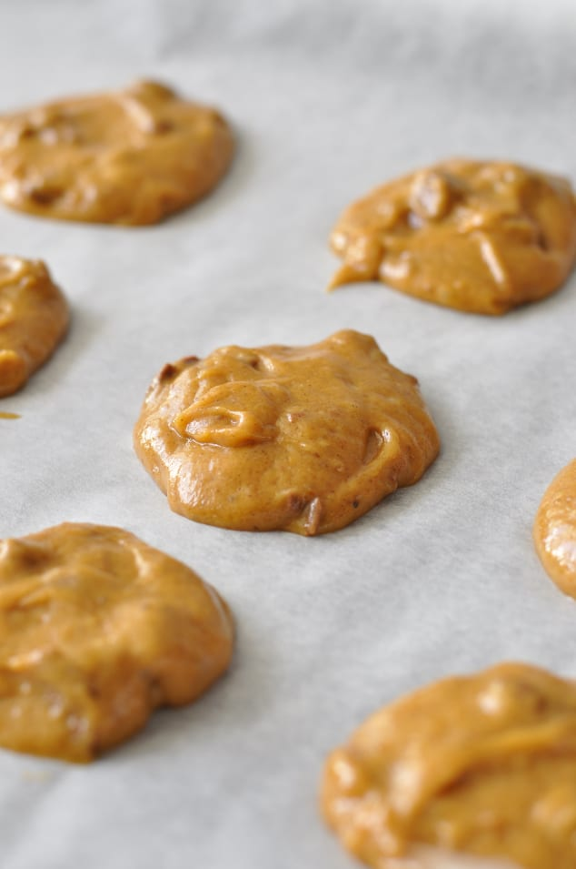 Healthy Pumpkin Cookie batter on a baking tray