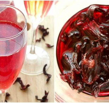 Collage with a glass of hibiscus cocktail on the left and hibiscus syrup on the right