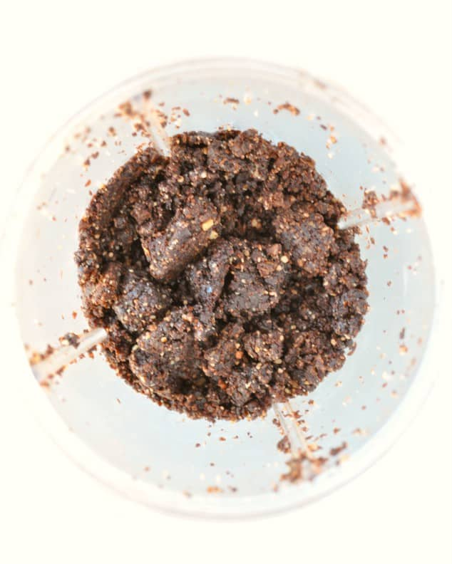 Raw Chocolate brownie no bake energy balls ingredients in a NutriBullet
