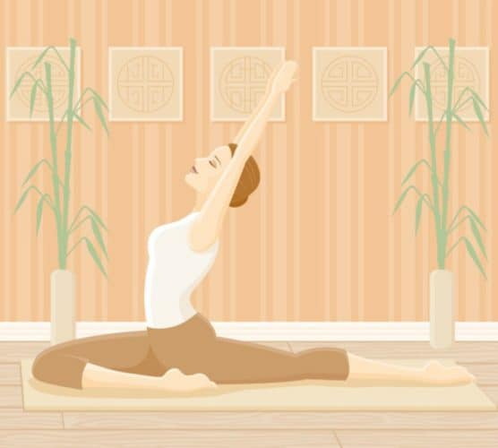 Graphic of a woman doing a yoga stretch from the 30 day yoga challenge for beginners.