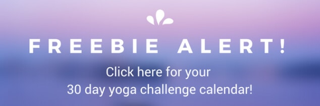 Pink and purple background with text to download the free 30 day yoga challenge for beginners calendar