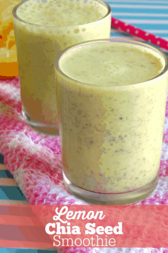 This Lemon Chia Seed Smoothie is amazing! So sweet, thick and creamy with a delicious citrus kick. Definitely my favorite spring smoothie recipe. Plus it's packed full of fiber and other goodies from the chia seeds!
