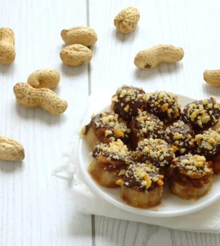 Healthy Frozen Banana Snickers Bites Recipe. These mouthfuls of deliciousness are my new favourite healthy snack! They're so easy to make and taste amazing - loads better than a normal Snickers! Plus they're healthy, vegan and gluten-free!