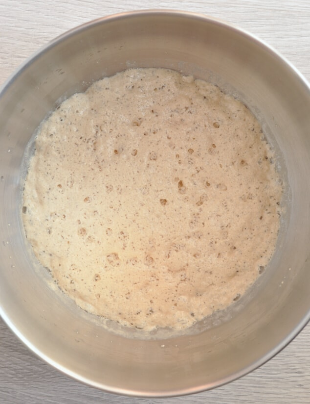 A bowl filled with bloomed yeast