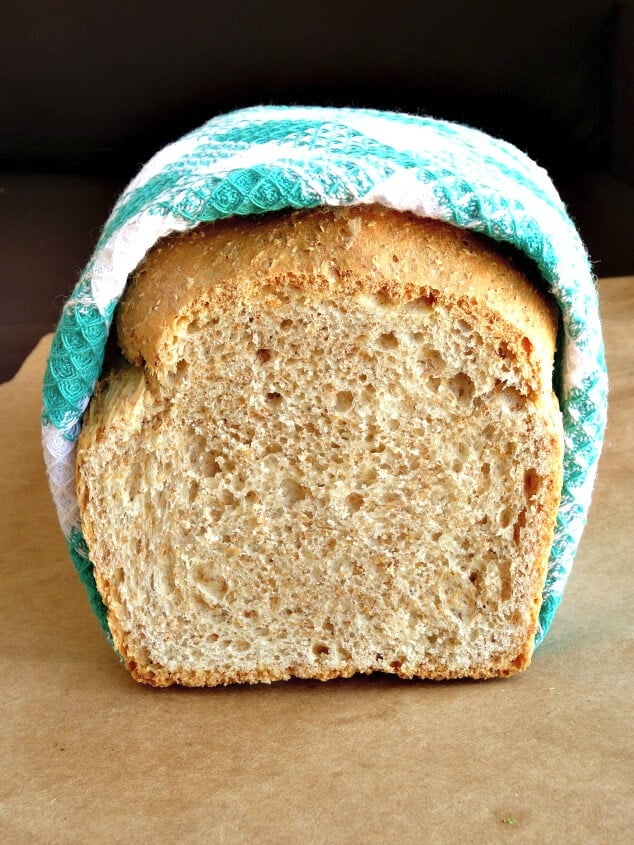 A loaf of healthy whole wheat bread that's been sliced