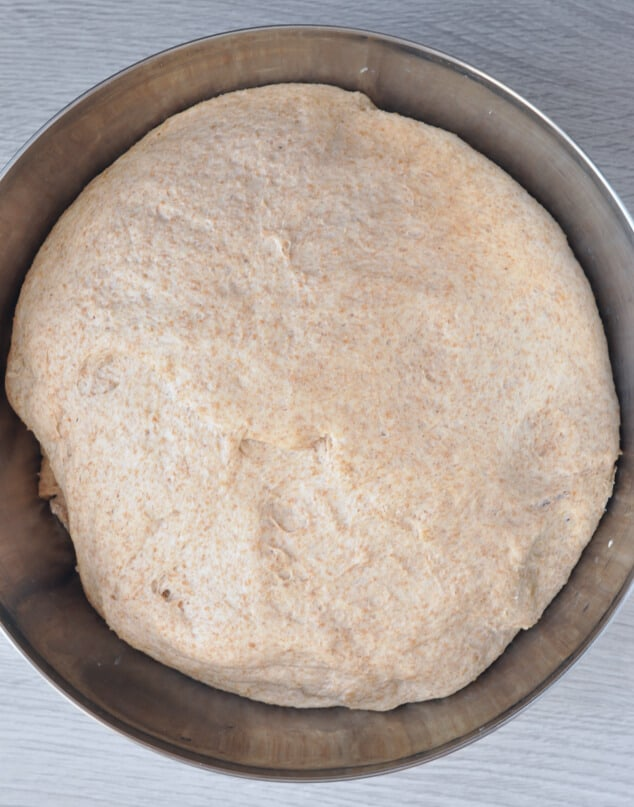 Bread dough that's been left to rise twice