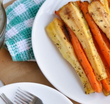 Overhead shot of The Most Amazing Honey Roasted Carrots and Parsnips