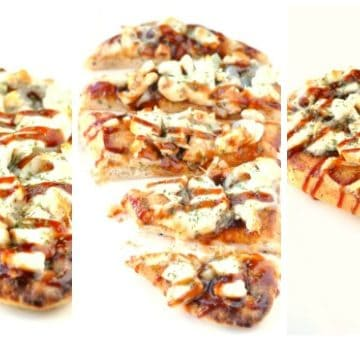 BBQ Chicken Naan Bread Pizza Healthy Version   Think pizza can't be healthy? Wrong! This recipe uses a yummy garlic naan bread as a pizza crust and is topped with protein-packed chicken, mozzarella and BBQ sauce.