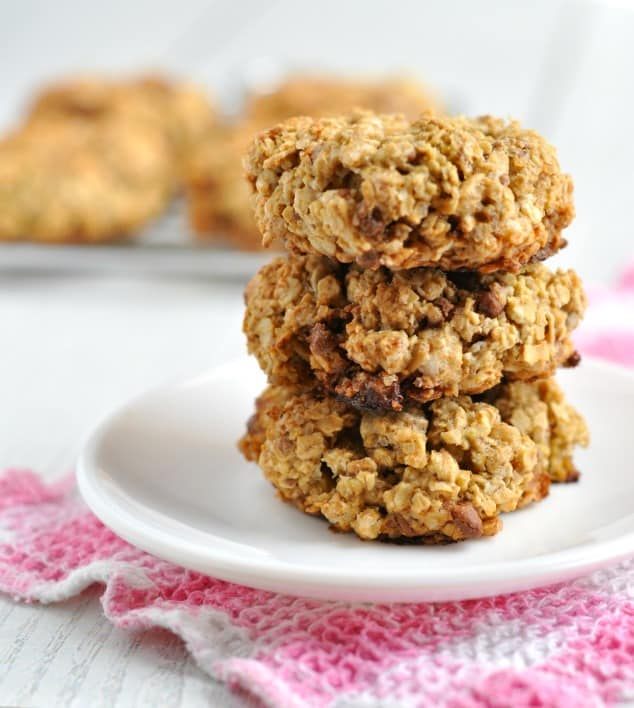 Stack of 3 low FODMAP chocolate chip cookies