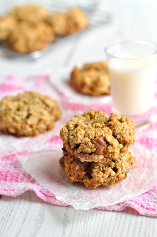 Stack of 2 low FODMAP chocolate chip cookies