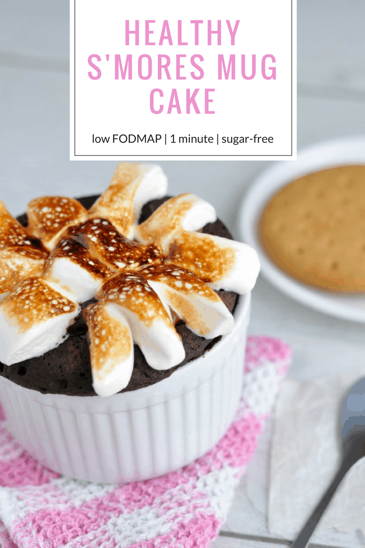 Healthy S'mores Mug Cake Recipe [low FODMAP] | This healthy mug cake is the best single serving dessert ever! It takes just 1 minute to cook, is just over 100 calories and satisfies my sweet tooth every time! Seriously - the next time you're craving a healthy chocolate mug cake, make this! #healthydessert #lowfodmap