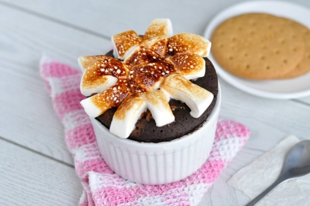 Healthy mug cake with marshmallow topping