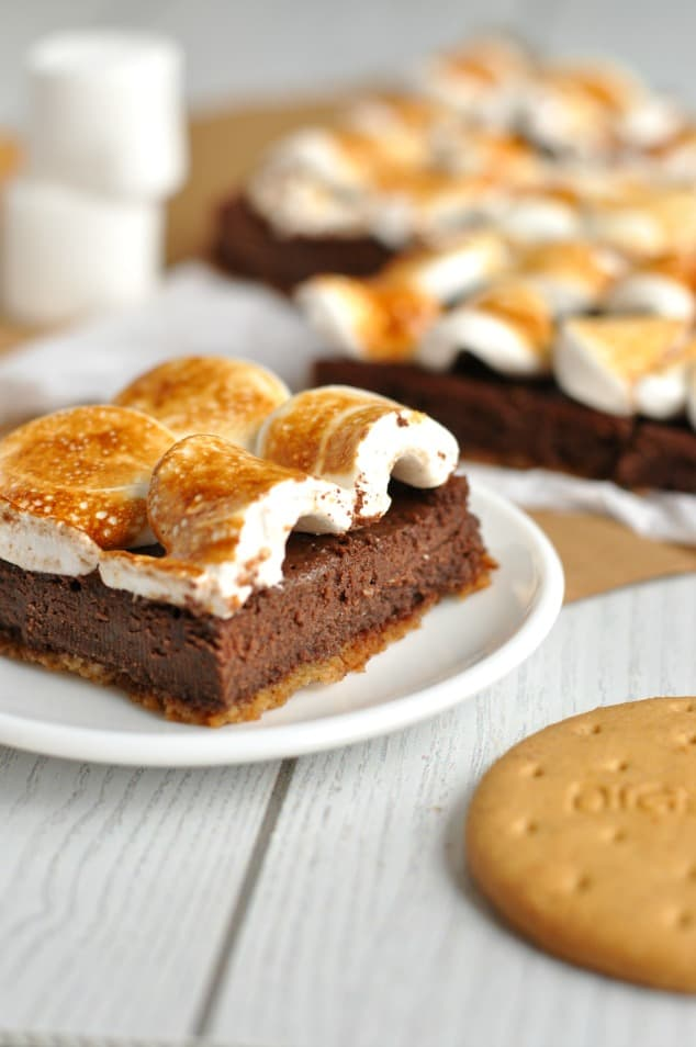 Toasted marshmallow topping on Healthy S'mores Brownies