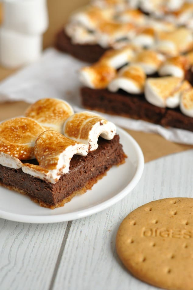 Closeup image of Healthy S'mores Brownies
