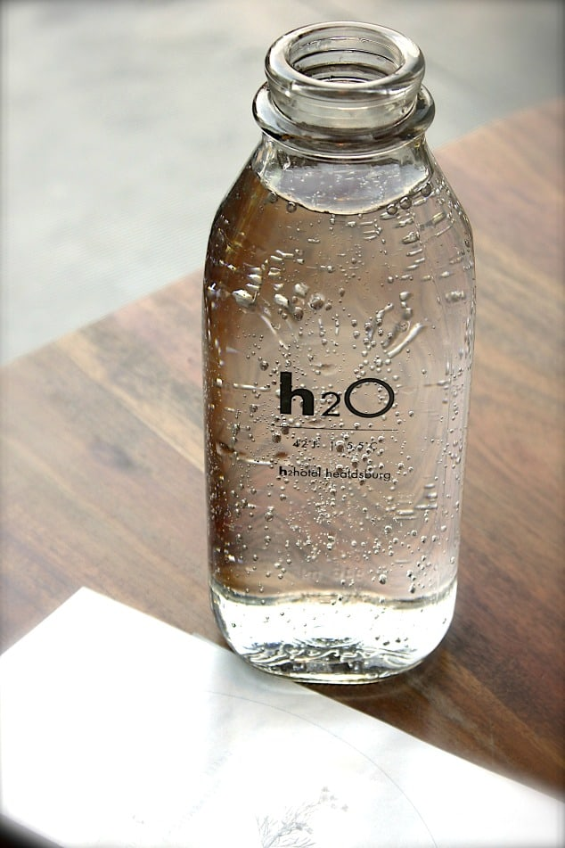 Glass bottle filled with water