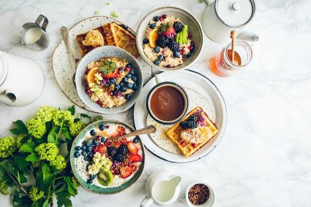 Beautiful spread of breakfast foods